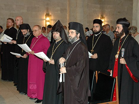 Catholics, Orthodox and Coptics worship at an ecumenical meeting.