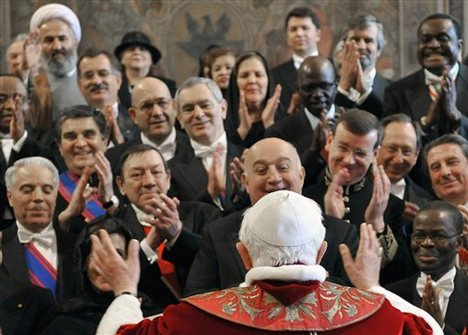 Who is like the Pope? Representatives of all kind of religious nations hail him?