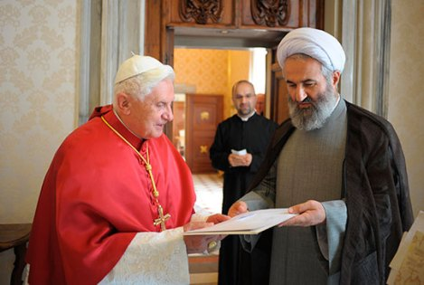 "The claimed to be ""Holy Father"" greets the new Iranian Ambassador to the ""Holy see""."