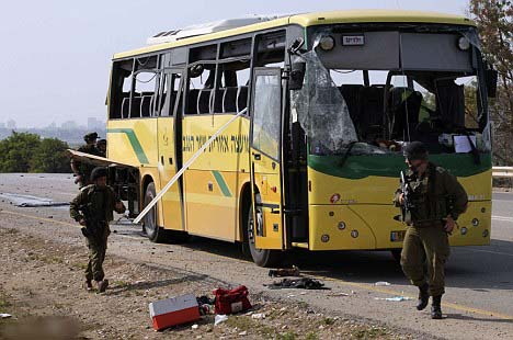 An Israeli schoolbus are targeted by Hamas, a terrorist organization supported by the United Nations.