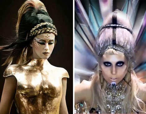 Katy Perry (left) and Lady Gaga embrace alien sex on their music videos.