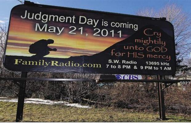 may 21 judgement day yahoo. the world will end May 21,