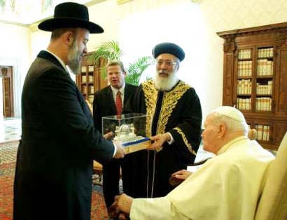"Both the Chief Rabbis in Israel pays respect to his ""holiness"" in the Vatican in 2004."