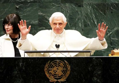 The Pope is greeted in the United Nation, and wants to become the prince of peace.