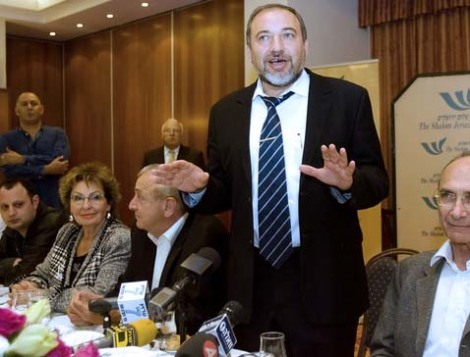 "Avigdor Lieberman throws in the towel. He gives in to the demand for the hybrid false ""Palestine""."