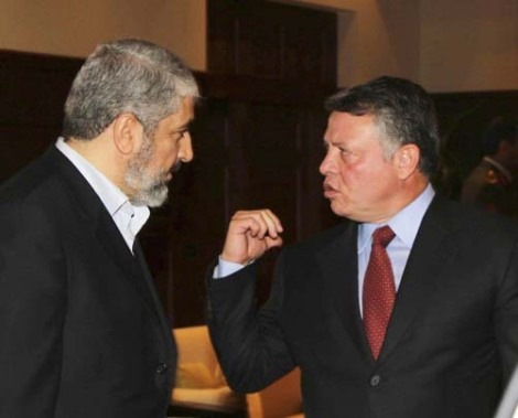 The Hamas-leder recived a warm welcome at the office of King Abdullah.