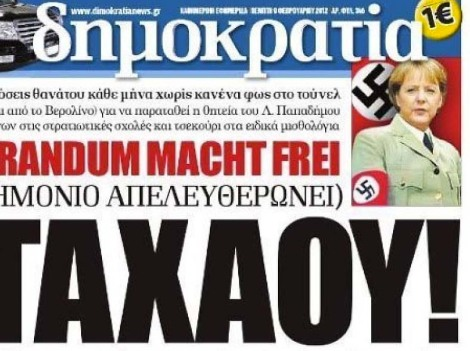 A Greek daily brand Angela Merkel as a Nazi-leader.