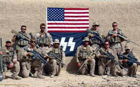 A neo-Nazi cell witin the US Marine corps hail Waffen SS .