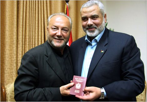 Galloway with a Hamas-passport. The new MP from Bradford West has dual loyalty, the perfect Hamas agent in the United Kingdom.