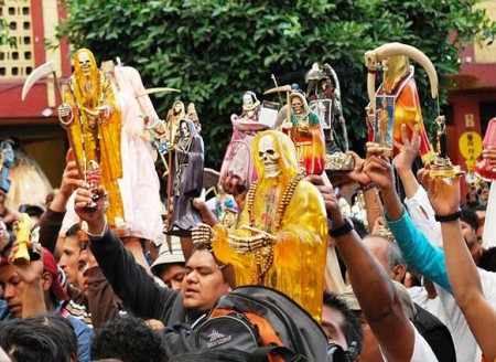 "Followers of ""Santa Muerte"" in Mexico have restarted the sacrifice of humans to ""baal""."