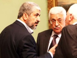 Hamas leader Khaled Meshal and PLO- head Abu Mazen ploy to fight till the last Jew lives in submission to Islam.