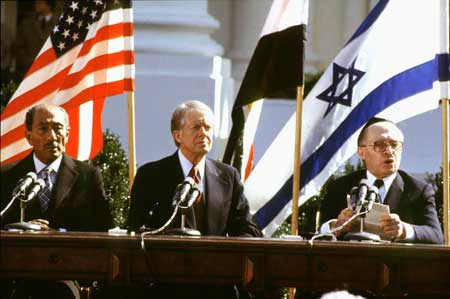 The present Fascist government in Egypt to not accept the Camp David peace agreement from 1979.
