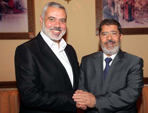 Egypt's President Mohamed Mursi and Hamas's leader in the Gaza Strip, Ismail Haniyeh