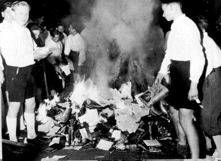 Hitler Youth burn Jewish books in 1933.