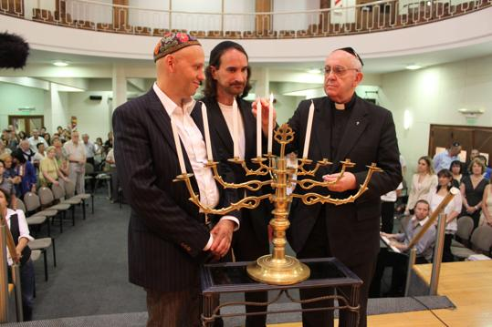 Dec. 12, 2012: Pope Francis during Hanukkah celebrations in Buenos Aires. Left, Rabbi Alejandro Avruj.