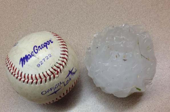 Hails as large as small basketballs.
