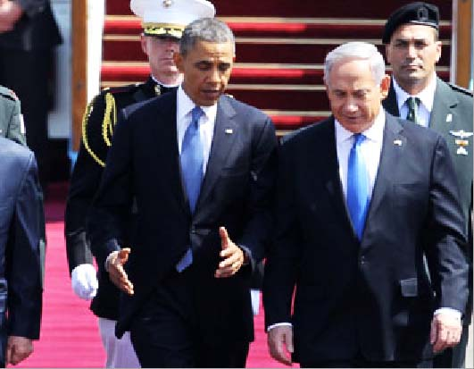 Obama receives a red carpet welcome pushing Netanyahu to accept lies as truth.