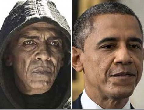 A Obama look-a-like from North Africa appears as Satan in Biblical movie.