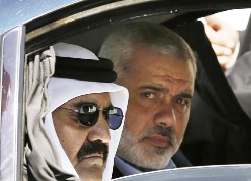The Quatari dictator has recently in Gaza to support Ismail Hanyeth and the Hamas.