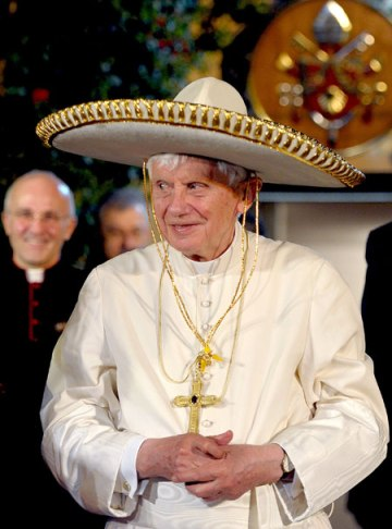 The Pope as a Mexican gangster.