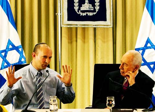 Zionist Bennet and secular Israeli Shimon Peres disagree on the future of Israel.