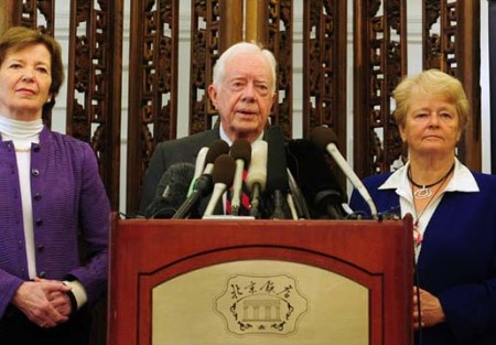 "Jimmy Carter and ""the elders"" curse Israel. Mary Robinson and Gro Harlem, Brundtland."