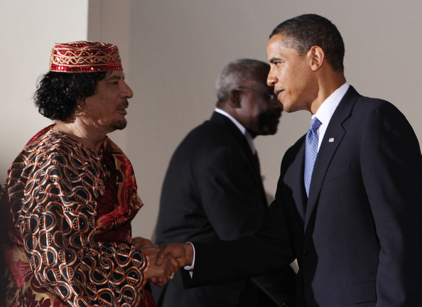 Obama and Gaddafi were on the same side.