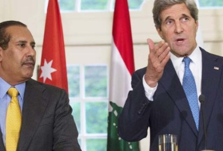 John Kerry seems to be disconnected. He bows before the Islamic plan to destroy Israel. Here with Qatari PM Hamas bin Jassim al Thani.