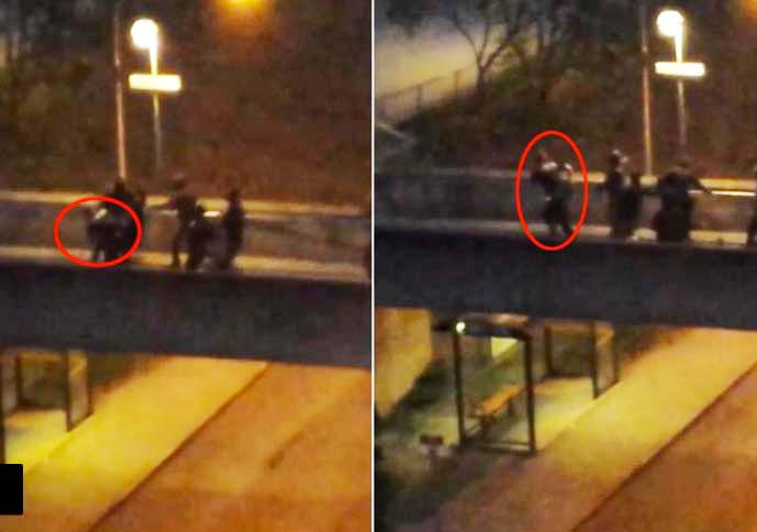 Islamist's caught on camera in Stockholm, beating a police officer.