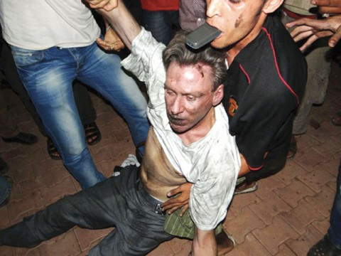 J. Christopher Stevens, carried away by Muslims like a slaughtered animal.
