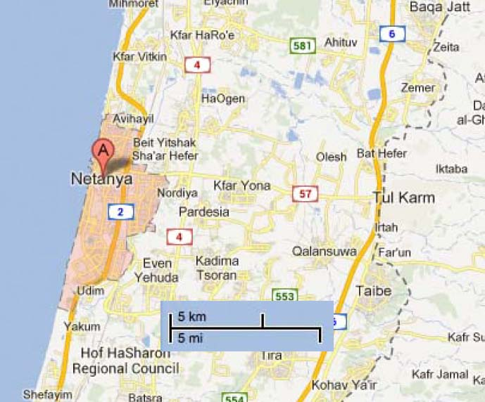 The city of Netanya is about 12 kilometer from the area the PLO wants to build and Islamic state.