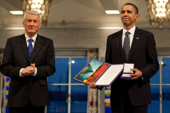 "Former left wing Norwegian PM Jagland, hand over the ""Peace price"" to Obama."