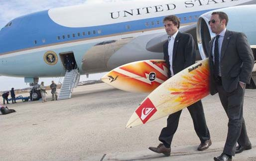 Taking a forced break on the Galapogos, sources confirms Obama spent time surfing.
