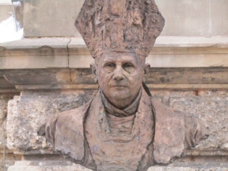 Byst of former Pope Benedict in Traunstein in Germany.