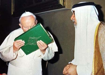 "Poppe John Paul II accepted ""allah"" by kissing the Koran."