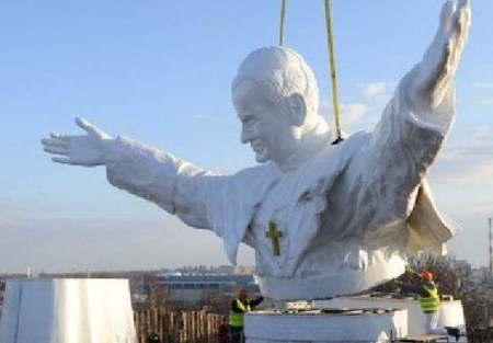 The largest Pope idol in the World inside Miniature Park in Czestochowa, Poland,
