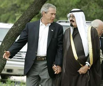 Bush and his order brother walking hand in hand.