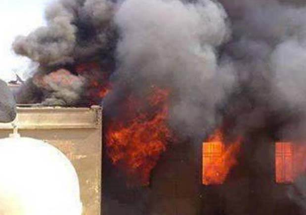 The Coptic Church in  El-Minya sset ablaze by the followers of Muhammad.