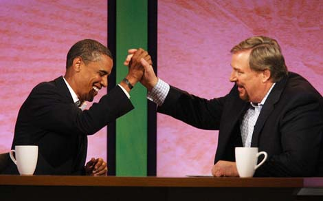 """Pastor Rick Waren blessed Obama, and called him a """"Christian""""."""