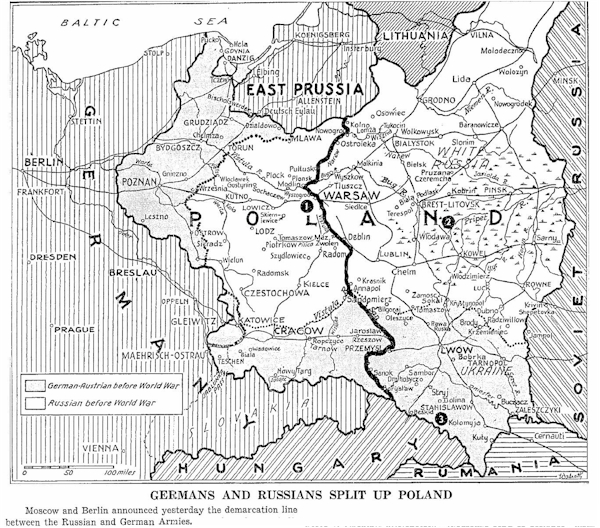 "The Germans and the Russians made ""peace"" by divining Poland and Warshawa"