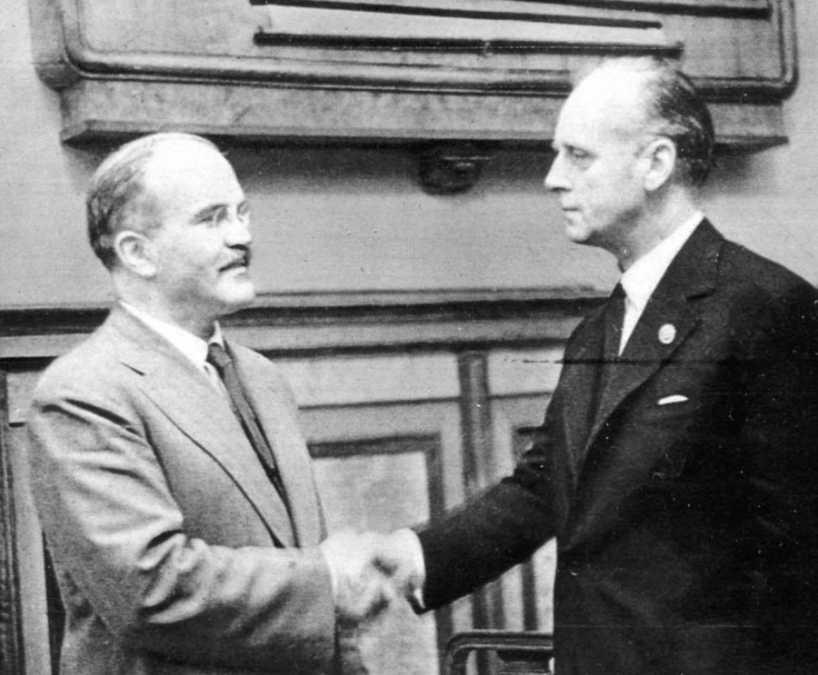 "Two false peace makers signs a pact of ""friendship"" that lead to the division of Poland and WW2."
