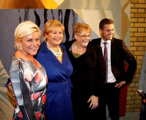 Conservative Party leader Erna Solberg (sf.left) is the new Prime Minister elect of Norway.