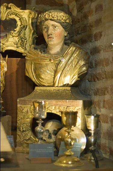 The skull of Saint Celia in Albi Cathedral, a city were all the Christians were massacred.