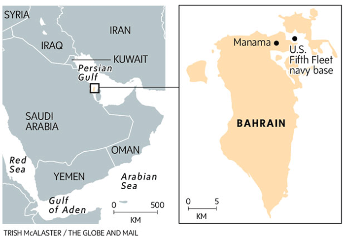 The US occupation of Bahrain is established for the purpose of controlling shipping in the Middle East.