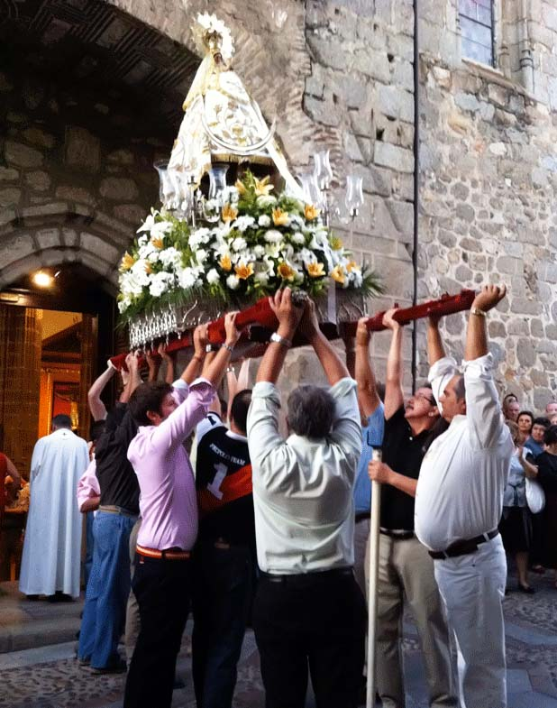 "Demonized Roman Catholics in Spain, worshiping a witch presented as the mother of ""Jesus""."