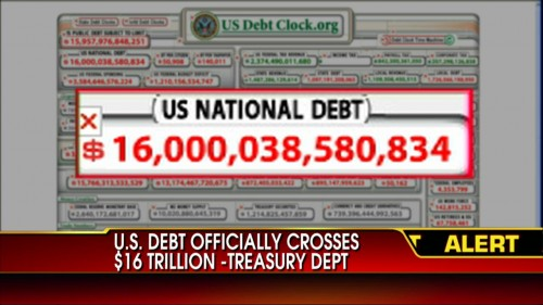 The US national debts is now increasing with a trillion USD a year.