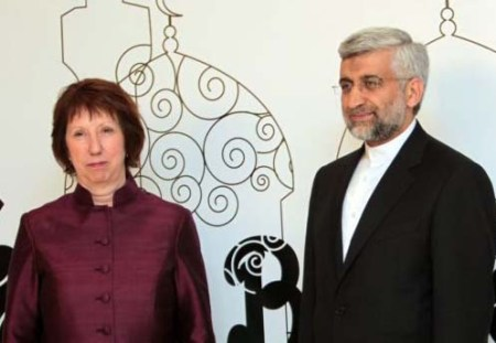 EU's Catherine Ashton & Iran's Saeed Jalili, who stood third in the rigged Iranian President election.