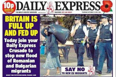 The Daily Express calls for an uprising against EU migration.