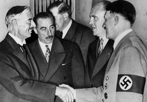 "September 30, 1938: Chamberlaine makes ""peace"" with Hitler. The planning for war continued."