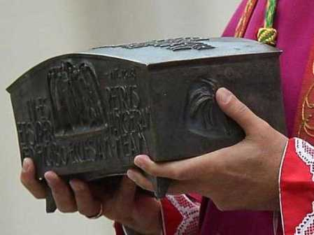 "The box with the ""holy bones and ashes"" of a claimed disciple of Jesus."